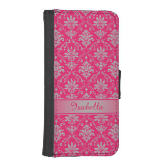 Red and Light Grey Named Damask iPhone SE/5/5s Wallet
