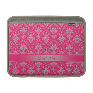 Red and Light Grey Named Damask MacBook Air Sleeve