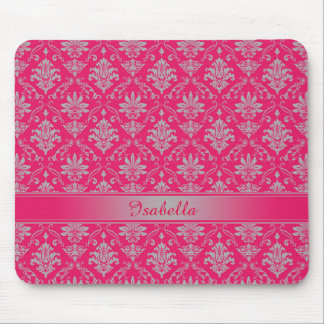 Red and Light Grey Named Damask Mouse Pad