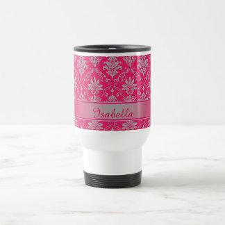 Red and Light Grey Named Damask Travel Mug