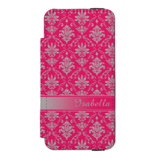 Red and Light Grey Named Damask Wallet Case For iPhone SE/5/5s