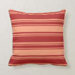 [ Thumbnail: Red and Light Salmon Colored Stripes Throw Pillow ]