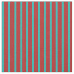 [ Thumbnail: Red and Light Sea Green Pattern of Stripes Fabric ]