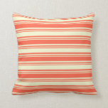 [ Thumbnail: Red and Light Yellow Colored Lines Throw Pillow ]
