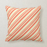 [ Thumbnail: Red and Light Yellow Colored Pattern of Stripes Throw Pillow ]