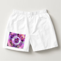 Red and Lilac Abstract Collage Boxers