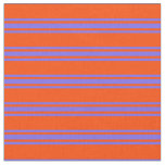 [ Thumbnail: Red and Medium Slate Blue Stripes Pattern Fabric ]