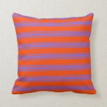 [ Thumbnail: Red and Medium Slate Blue Stripes Pattern Pillow ]