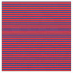 [ Thumbnail: Red and Midnight Blue Colored Stripes Fabric ]