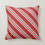[ Thumbnail: Red and Mint Cream Colored Stripes/Lines Pattern Throw Pillow ]
