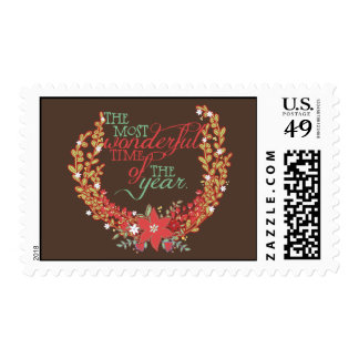 Red and Mint Most Wonderful Time Holiday Postage