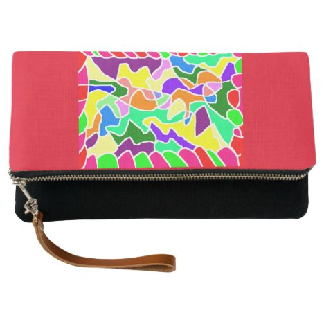 Red and mixed color fold over clutch bag