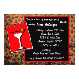 "Red And Mocha Caramel Leopard Party Invitation 5"" X 7"" Invitation Card"