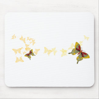 Red and Mustard Butterflies Mouse Pad