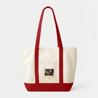 red and natural tote bag/Make some Holiday cheer