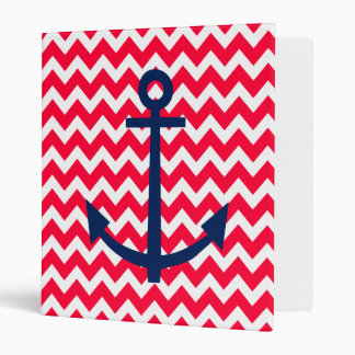 Red and Navy Anchor Chevron Nautical Pattern 3 Ring Binder