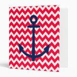 Red and Navy Anchor Chevron Nautical Pattern Vinyl Binders