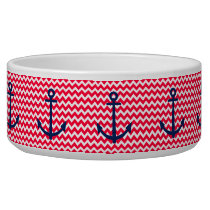 Red and Navy Anchor Chevron Nautical Pattern Bowl