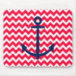 Red and Navy Anchor Chevron Nautical Pattern Mouse Pad