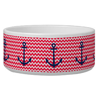 Red and Navy Anchor Chevron Nautical Pattern Pet Food Bowl