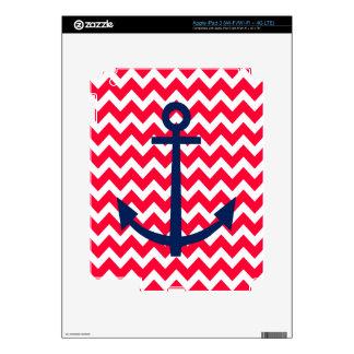 Red and Navy Anchor Chevron Nautical Pattern iPad 3 Skin