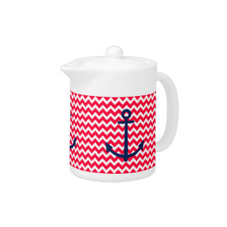 Red and Navy Anchor Chevron Nautical Pattern Teapot