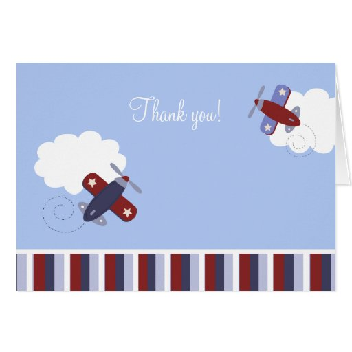 Red and Navy Blue Airplane Folded Thank you notes