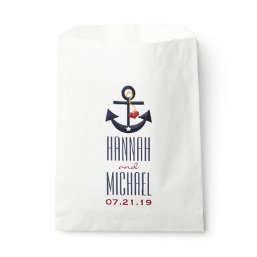 Beach Themed Red and Navy Blue Anchor Heart Wedding Favor Bag