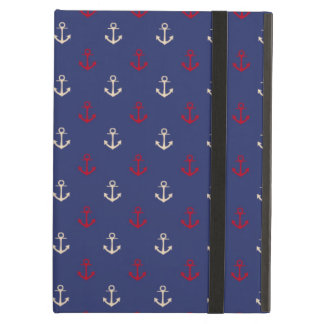 Red And Navy Blue Nautical Anchors Pattern iPad Air Case