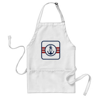 Red and Navy Blue Nautical Monogram Adult Apron