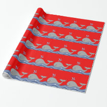 Red and Navy Blue Whale Baby Shower Wrapping Paper