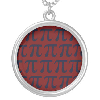 Red and Navy Pi Round Pendant Necklace