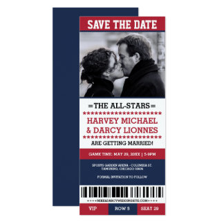 Red and Navy Sports Ticket Save the Date Card