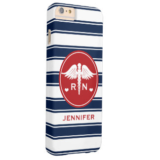 RED AND NAVY STRIPE CADUCEUS NURSE RN BARELY THERE iPhone 6 PLUS CASE