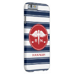 RED AND NAVY STRIPE CADUCEUS NURSE RN BARELY THERE iPhone 6 CASE
