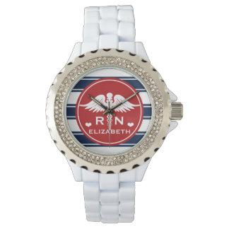 Red and Navy Stripe Caduceus RN Nurse Watch