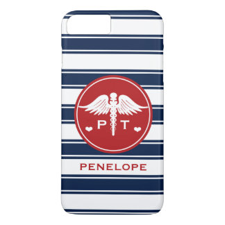 RED AND NAVY STRIPE PHYSICAL THERAPY PT iPhone 8 PLUS/7 PLUS CASE