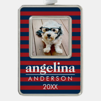 Red and Navy Striped Pattern Custom Name and Photo Christmas Ornament