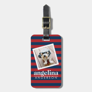 Red and Navy Striped Pattern Custom Name and Photo Travel Bag Tag