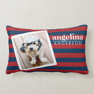 Red and Navy Striped Pattern Custom Name and Photo Pillow