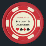"""Red and Off White Las Vegas Casino Wedding Poker Chips Set<br><div class=""""desc"""">Getting married in Las Vegas or another fun casino city? These red and white poker chips would make a perfect favor. Personalize your design with your names in black in the center,  and a wedding date,  thank you,  etc. in red on top.</div>"""