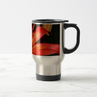 Red and Orange Asiatic Lily Closeup Travel Mug