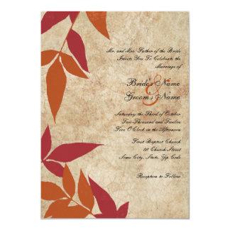 Red and Orange Autumn Leaves Vintage Wedding Custom Invites