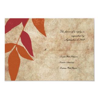 Red and Orange Autumn Leaves Vintage Wedding RSVP Custom Invitations