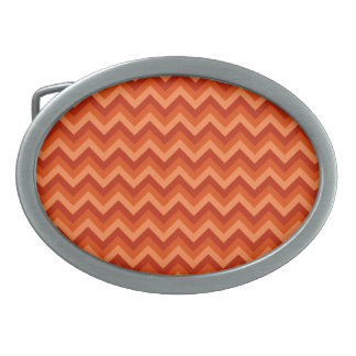 Red and Orange Chevron Stripes. Belt Buckles