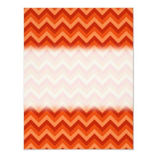 Red and Orange Chevron Stripes. 4.25x5.5 Paper Invitation Card