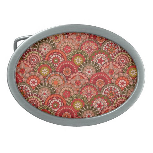 Red and orange circle shaped flower pattern belt buckles