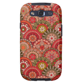 Red and orange circle shaped flower pattern samsung galaxy SIII cover