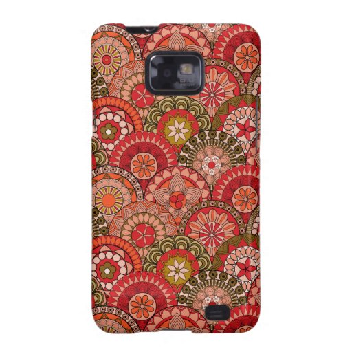 Red and orange circle shaped flower pattern galaxy SII covers
