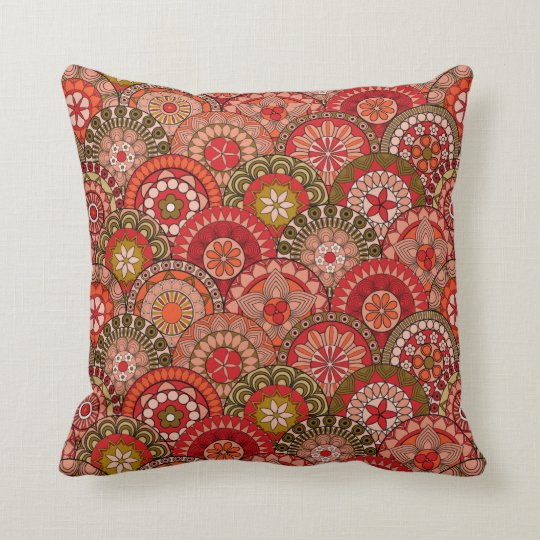 Red and orange circle shaped flower pattern throw pillow